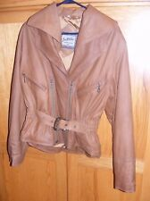 SOFT **LEATHER** DBL ZIPPER STYLE - BELTED SHORT JACKET- **STUNNING** SMALL--NEW