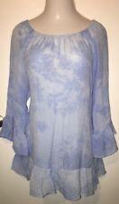 Hannah Plus Size • Women's 2X Blue Boho Style Top Hem Ruffle