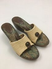 Born Handcrafted Leather Canvass Platform Slide In Slippers Shoes US 9