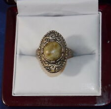 Vintage Miracle Green Agate Connemara Marble Adjustable Celtic Silver Ring 8f 13