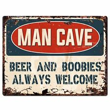 PP2635 MAN CAVE BEER ALWAYS WELCOME Chic Sign Home Store Decor Funny Gift