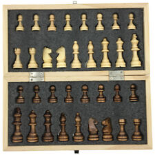 Magnetic & Folding Wooden Chess Set Portable Travel Board Game Extra Queen