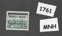 #1761  MNH 1939 Overprint stamp 50 Hal BaM Protectorate / Third Reich occupation