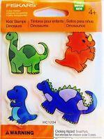 Dinosaurs T-Rex Triceratops Stegosaurus Clear Acrylic Stamp Set by Fiskars NEW!