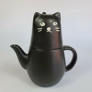 SAN ART Black Cat Set of Tea Pot & Cup Set with Tea Strainer for one