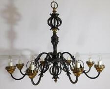 More details for massive 8 light vintage black wrought iron chandelier