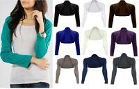 LADIES LONG SLEEVE PLAIN BOLERO SHRUG CROPPED VISCOSE JERSEY TOP WOMENS UK 8-14