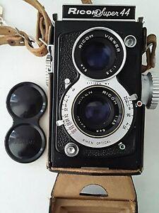 RARE 1958 JAPAN RICOH SUPER 44 4x4 Riken 6cm f3.5 1:3.5 Lens TLR Camera COMPLETE