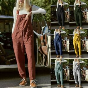 Women Cotton Hemp Fashion Pure Color Overalls Casual Jumpsuits Dungarees Romper