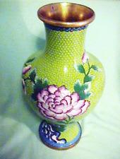 Large Vintage Green 15� Cloisonne' Vase