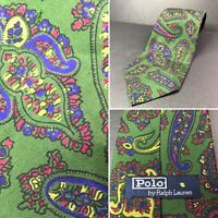 Vintage Polo By Ralph Lauren 100% Silk Tie Colorful Paisley Hand Made in USA A1
