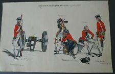 """Ancien dessin encre aquarelle militaire """" Régiment des Gardes Suisses Louis XVI"""""""