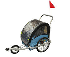 AmorosO 2 in 1 bike trailer, #5386 blue, with patented parking brake