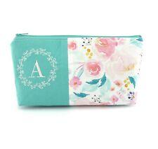 Personalised Initial Wreath Name Letter Bridesmaid Gift Makeup Bag Cosmetic Bag