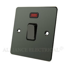Flat Black Nickel 20 Amp DP Switch - 20A Double Pole Switch w/ Neon Indicator