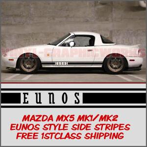 Mazda MX5 Mk1 Mk2 Eunos Roadster Side Stripes Decal Vinyl Graphic Eunos Style