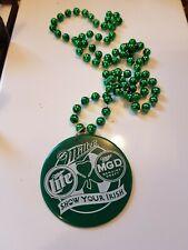 Rare Miller Lite Mgd 3 Shamrock / St. Patrick's Day Show your Irish Necklace