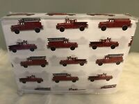 Authentic Kids Full Size Sheet Set Firetrucks 100% Cotton Red White Soft Boys