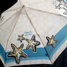 NWT COACH Starfish Beach Folding Umbrella Push button NEW