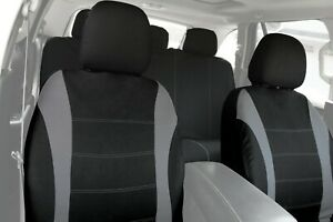 9pc Car Seat Covers Set Black & Gray Protective for Auto Front & Bench Full Set