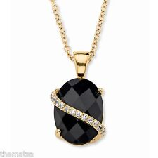 "14K GOLD BLACK ONYX PAVE CZ GP  PENDANT CHARM AND 18"" NECKLACE CHAIN"