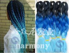 Black Blue Ombre Kanekalon Jumbo Braiding Synthetic Hair Extension Twist Braids