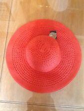 BNWT ACCESSORIZE PACKABLE ORANGE  STRAW HAT