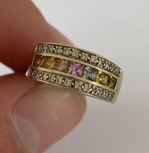 9ct Gold Princess Cut Multi Coloured Sapphire & Diamond Art Deco Design Ring, AS