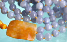 Blue Aquamarine Hand Knotted Mala Beads Tibetan Necklace - Energized Karma Nirva