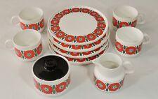 1970's Melitta Germany 4 Dessert Sandwich Plates 4 Cups Sugar Bowl & Creamer EUC