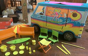 Vintage Barbie Beach Bus almost complete set 1971 Surfer