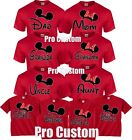 Mom And Dad Family Mickey Minnie Head Disney Birthday Customized RED T-Shirts