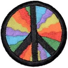 "Peace Sign Applique Patch - World Peace, Rainbow, Hippie Badge 2"" (Iron on)"