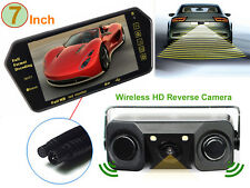 "7"" Bluetooth MP5 Car Rearview Mirror Monitor+3 in 1 Parking Sensor Backup Camera"