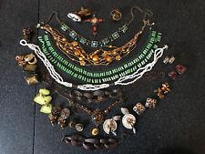 Ancien lot vintage Bijoux Broche Boucle Bague collier Mode Signé Paris Jewelry