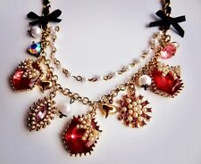 Pink Rhinestone Gold Tone Black Ribbon Necklace