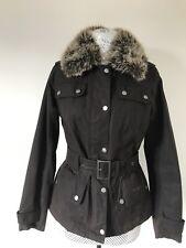 Ladies Barbour Piston brown wax jacket size UK 8 with detachable faux fur collar