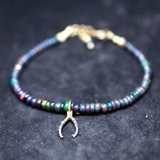 Natural Diamond Wishbone Black Opal Bracelet 14k Gold Filled April October Birth