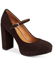 a03299a11a7e Coach Goldie 8 Chestnut Brown Suede Leather Block Heel Platform Mary Jane  PUMPS
