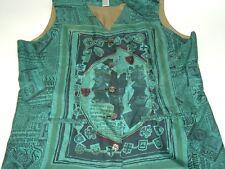 Vintage Vest Art to wear Silks Brand 1X womens vest Kings crowns crests script