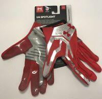 Under Armour Mens Size Large UA Spotlight Football Gloves Red Chrome $60