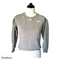 Womens New Balance Sz XS Sweatshirt Crop Gray Active Top Pullover Crew Neck Logo