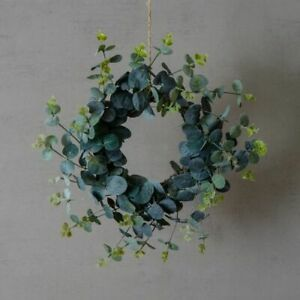 Small 26cm Faux Eucalyptus Xmas Door Wreath Artificial Fake Realistic Greenery