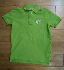 ABERCROMBIE & FITCH KIDS Lime Green 100% Cotton Logo Polo Shirt Tee Top Sz:S