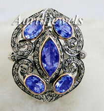Victorian 1.23ct Rose Cut Diamond Blue Sapphire Ring Vintage Thanks Giving Day