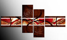 LARGE BROWN RED ABSTRACT CANVAS ART PICTURES SPLIT MULTI 4 PANEL 146cm rdy2hang