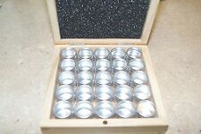 WOODEN BOX WITH 25 ALUMINIUM TINS STORAGE NEW WATCH & HOBBY