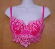 34C Demi Bustier BRA Victoria Secret DREAM ANGELS Underwire Pink Lace Zipper VS