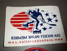 "USA INLINE HOCKEY ROLLER SKATING 2x23/4"" OVAL PATCH & 5x31/2"" STICKER RARE & NEW"