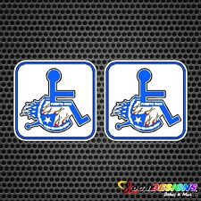2x IMPEDIDO DISABLED  WHEELCHAIR PUERTO RICO RICAN  FLAG VINYL CAR STICKER DECAL